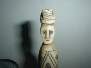 Antique Faux Bone Resin Carving Figure Removable Head Emperor Priest Primitive