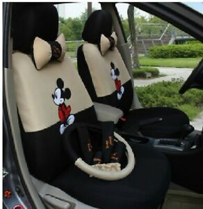 18 Pcs New Mickey Mouse Car Seat Cover Cartoon Accessories Universal Interior