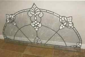 Leaded Stain Glass Window With Beveled Crystal Clear Pieces