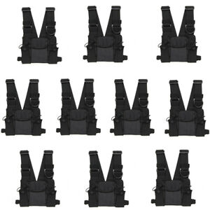 10x Radios Chest Front Pack Pouch Holster Carry Bag Baofeng Uv 5r Walkie Talkie