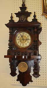 Superb Vienna Austrian Regulator Clock Walnut C1890 Brass Lion Head