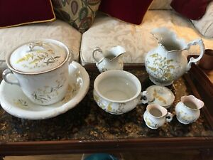 Antique Chamber Pot And Wash Basin Set 11 Pieces Etruria Mellor