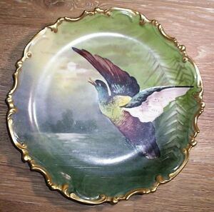 Large Antique Hand Painted Limoges France Game Bird Charger Putts Baltimore