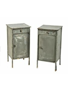 Two Matching C 1930 S Freestanding Industrial Enameled Steel Side Tables