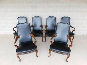 Hickory Chair Regency Style Mahogany Library Arm Chairs A Set Of 6
