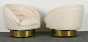 Pair Of Upholstered Crescent Swivel Club Chairs By Vladimir Kagan 1970s