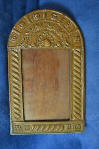 Vintage Handmade Picture Frame Metal Foil Over Wood Copper Hammered