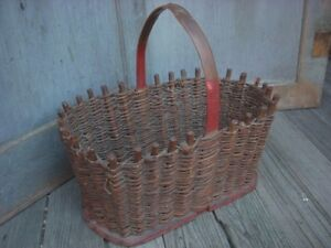Antique Primitive Hand Made Woven Basket Old Red Paint Folk Art Aafa
