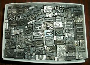 No 98 Vintage Lot Of 230 Pieces Letterpress Printers Lead Type Letters Numbers