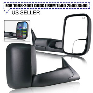 Fits 1998 2001 Dodge Ram 1500 2500 Power Heated Towing Mirrors Side View Pair