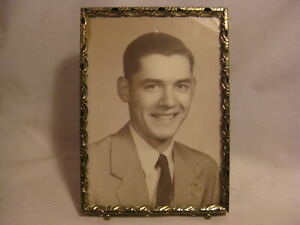 Vintage Picture Photograph Frame W Jim 54 Photo Ornate Metal W Stand Decor