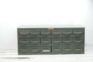 Vintage Equipto Industrial Parts Cabinet 18 Drawers Parts Bins Parts Cabinet 2