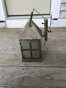 Vintage Copper Light Fixture Tudor Arts Crafts Artolier Nautical Lanterns