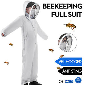 Beekeeping Protective Suit Full Veil hooded Anti Sting White Polyester Body