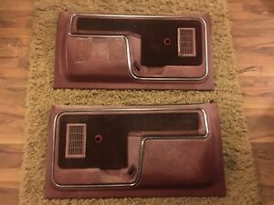 1980 1986 Ford Truck F150 F250 350 Bronco Pickup Door Panels Set Red Chrome Trim