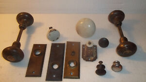 Antique Vintage Hardware Assorted Lot Plates Door Knobs And Other Misc