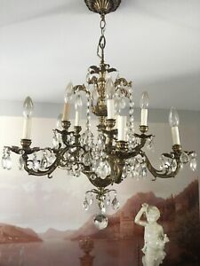 Antique Vintage Chandelier Brass Bronze With Crystals