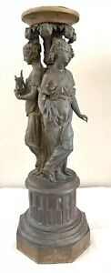 Antique The Three Graces Muses Figural Statue Newel Post Lamp Tazza