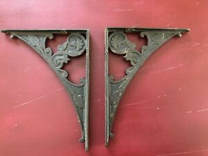 2 Shelf Support Brackets 7 X 9 Old Eastlake Flower Vintage 1880 S Iron Antique