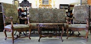 Antique French Louis Xv Fauteuil Suite Sofa 2 Arm Chairs Original Tapestry 1860