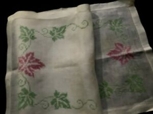 Antique White Linen Primitive Runner Hand Made Cross Stitch Embroidery 15 X 41