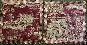 Two Early Vintage Gorgeous Country Style Sham Pillowcases Victorian Pattern18 Sq