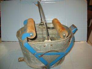 Antique Vintage White Brand Metal Wringer Mop Bucket