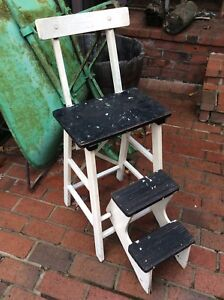 Vintage Farmhouse Wood 2 Step Country Kitchen Stool Very Good Great Look
