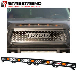 For 2014 2020 Tundra Metal Mesh Hood Buldge Molding Grille Insert W amber Lamps