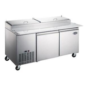 New 67 2 Door Refrigerated Pizza Prep Table Pans Included Casters Free Shipping