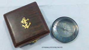 3 Solid Nautical Compass Navigation Navy Ship Paper Weight With Wooden Box