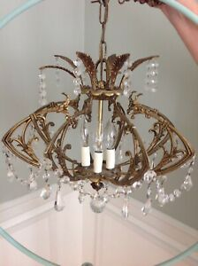Vtg Ornate Brass Chandelier Shabby Crystals Light Prism Deco Art