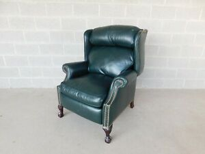 Classic Leather Co Chippendale Style Wing Back Ball Claw Foot Recliner