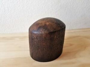 Vintage Antique Millinery Wooden Hat Block Form Dark Brown
