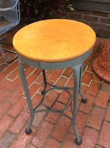 Vintage Industrial Wood Metal 27 1 2 Tall Toledo Stool Very Nice
