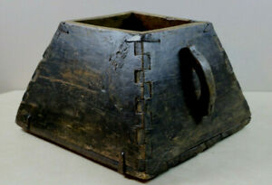 Old Antique Primitive Wooden Rice Grain Gathering Dovetail Box Bucket Holder