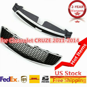For Chevy Cruze 2011 14 Honeycomb Front Bumper Upper Grille And Lower Grill Kit