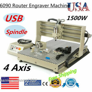 Usb 6090 Router 4 Axis 1500w Vfd Spindle Metal Engraver Mill Engravering Machine