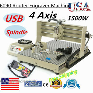 Usb 4axis 6090 Router Engraver Engraving Machine 3d Cutter Drill handwheel 110v