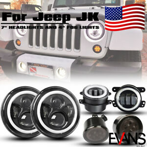 For Jeep Wrangler Jk 07 17 Dot Led 7 Headlight Turn Light Smoke Fog Halo Lamps