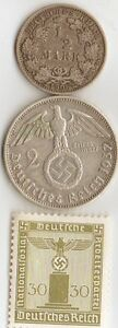 Wwi And Wwii Silver German Coins Stamp
