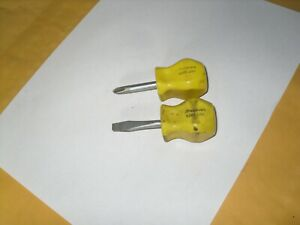 Snap On 2pc Sdd1 Stubby Philips Flat Slotted Yellow Hard Handle Screwdrivers