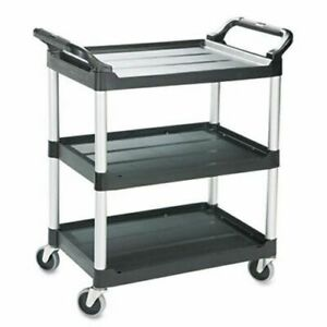 Rubbermaid 3424 88 200 Lb Capacity Grey Plastic 3 shelf Utility Cart New