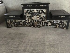 Old Estate Collection Korean Hardwood Stand Table Inlaid Mop Wood Furniture