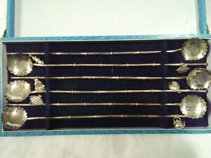 6 Sterling Silver Ice Tea Spoon Straw Set Japanese Chinese Bamboo W Charms And