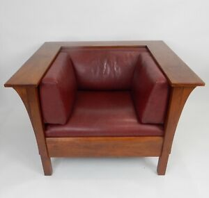 L And Jg Stickley Large Mission Prairie Chair With With Leather Cushions 42 5