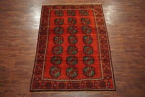 7x9 Antique Turkoman Bukhara Signed Persian Area Rug W Abrash Hand Knotted Wool