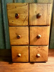 Antique Vintage Wooden 6 Drawer Spice Apothecary Box