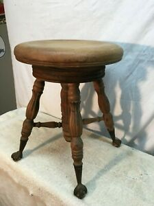 Vtg Piano Solid Wood Swivel Stool Seat Bench Ball Claw Glass Feet Plant Stand