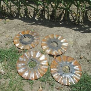 4 Ruffled Plow Disc Blades Industrial Age Steampunk Farm International Vintage B